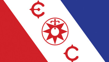 Explorers Club Flag Red, White Blue Diagonals, Compass, E, C