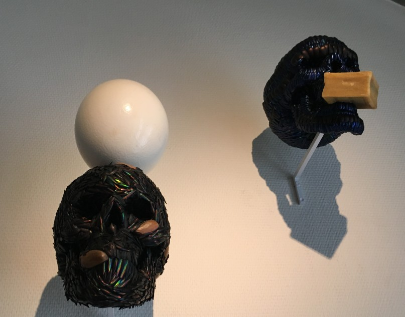 Jan Fabre, skull with egg and skull with soap