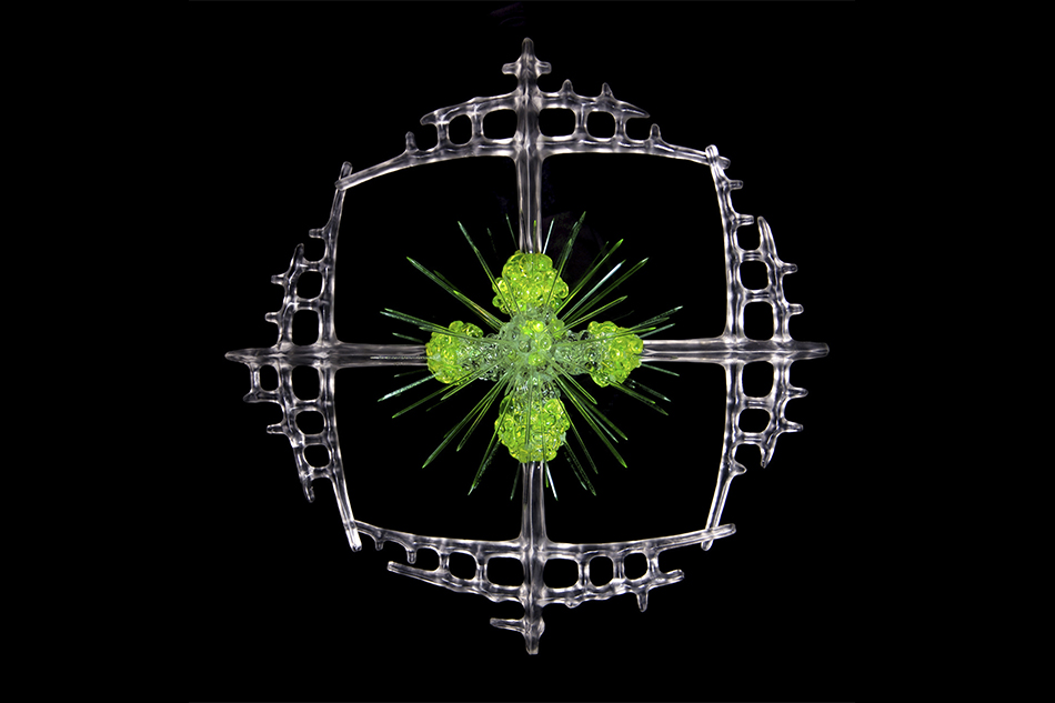 Lithopetra Plankton, cast lead crystal and hot sculpted uranium infused glass 2014