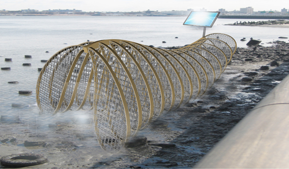Oyster Gill Render With Solar Panel in Water