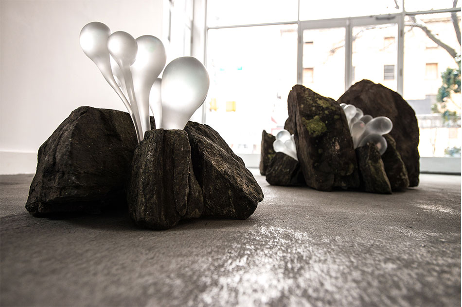 Supernatural 1, hot sculpted glass, rocks install shot 2014